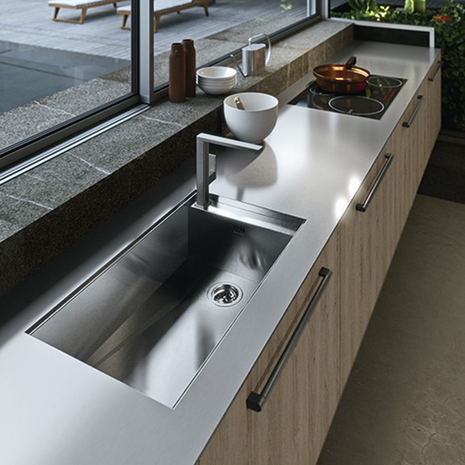 Stainless steel kitchen worktop